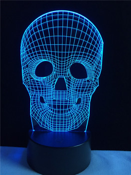 Halloween Skull Shape Night Light 3D Illusion Lamp Multicolor LED Desk Table Control Colors Changing Decoration