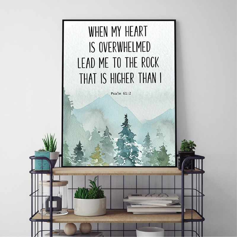 Bible Verse Psalm 61 2 Christian Wall Art Canvas Painting When my heart is overwhelmed Quotes Poster Prints Picture Home Decor image