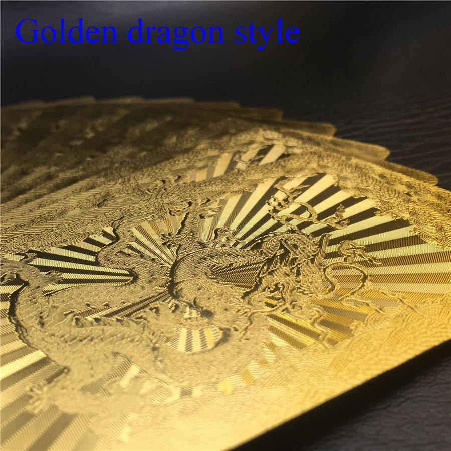 Washable 24K Golden Dragon Playing Cards PVC Waterproof 54pcs Poker Board Game Deck Durable Gold Plated Foil Poker Card Set (4)