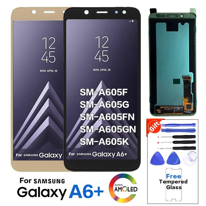 Pantalla LCD Amoled Original para Samsung Galaxy A6 + A605 SM-A605F pantalla LCD de repuesto SM-A605FN pantalla lcd A605G A605GN