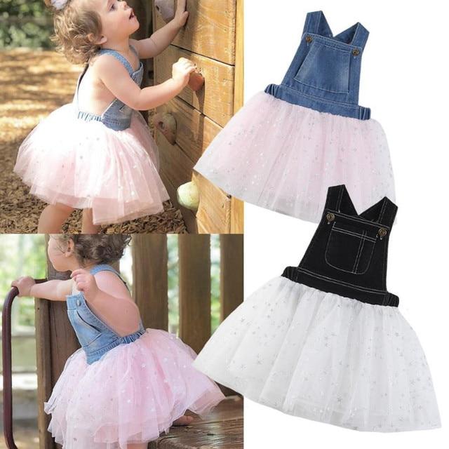 2d66b8c1afb 2019 Toddler Girls Denim Lace Tutu Dress Kids Baby Girl Strap Jeans  Princess Party Wedding Dresses Summer Vestidos For 2-7Year