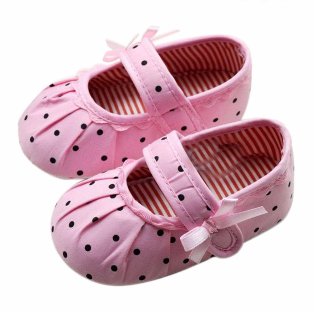 1 Pair Kids Baby Girl Pink Polka Dot Soft Sole Crib Shoe Prewalker First Shoes Baby Infant Shoes First Walkers Newborn