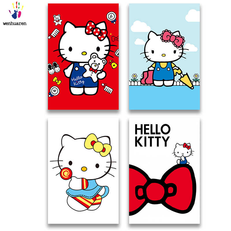 DIY colorings pictures by numbers with colors Cat illustration Cute cat Bow cat picture drawing painting by numbers framed