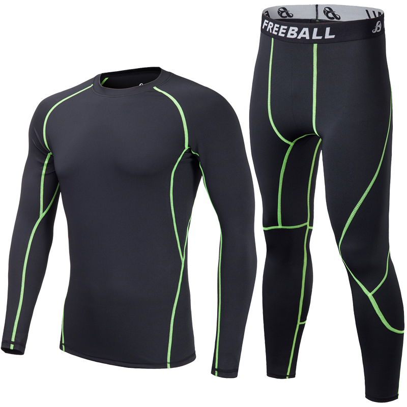 Compression Sets Mens Running Sport T-Shirt Pants Joggers Tight Trousers Bodybuilding Training Compression Pants Workout Fitness