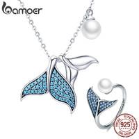 BAMOER 925 Sterling Silver Ocean Mermaid's Tail Story Blue Zircon Pendant Necklaces Women Rings Jewelry Sets Jewelry ZHS092