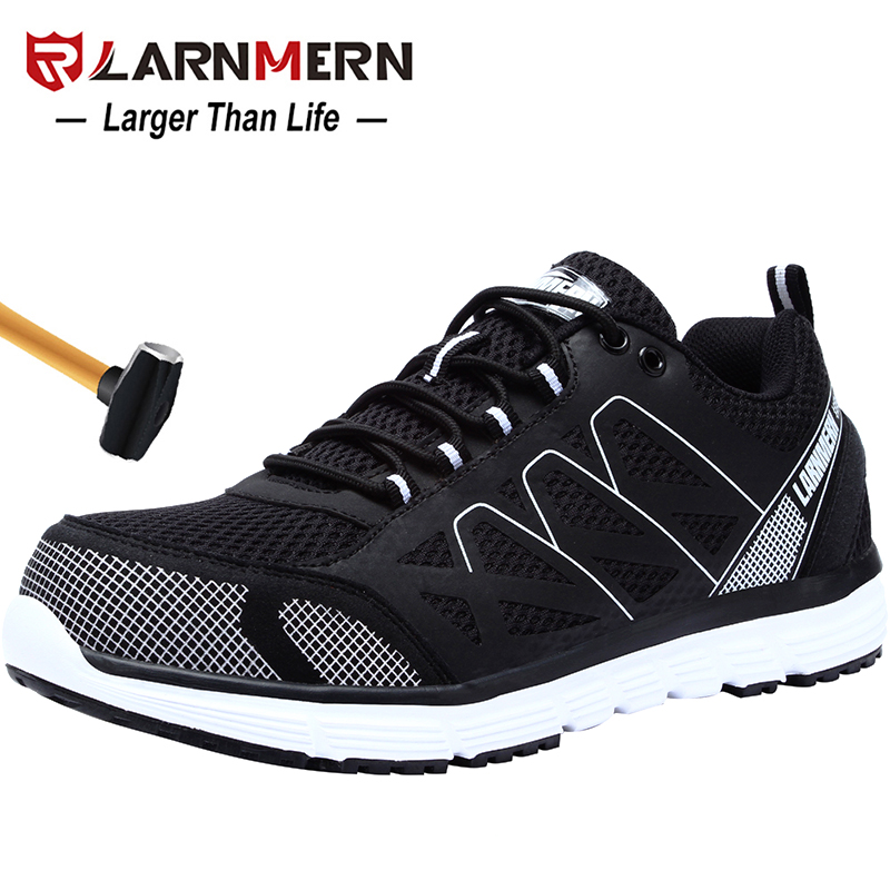LARNMERN Mens Safety Work Shoes Steel Toe shoes Breathable Lightweight Anti smashings Non slip Reflective Protective