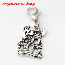 Hot ! 15pcs  Antique silver HAUNTED HOUSE GHOST Charm Bead With lobster clasp Fit Bracelets DIY Jewelry 14x34mm (nm276)