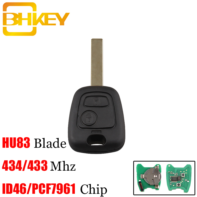 BHKEY 2Buttons HU83 Blade Remote Car key For Peugeot 307 For Citroen C1 C3 With ID46/PCF7961 Transponder  ChipBHKEY 2Buttons HU83 Blade Remote Car key For Peugeot 307 For Citroen C1 C3 With ID46/PCF7961 Transponder  Chip