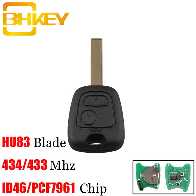 BHKEY 2Buttons HU83 Blade Remote Car key For Peugeot 307 For Citroen C1 C3 With ID46/PCF7961 Transponder  Chip