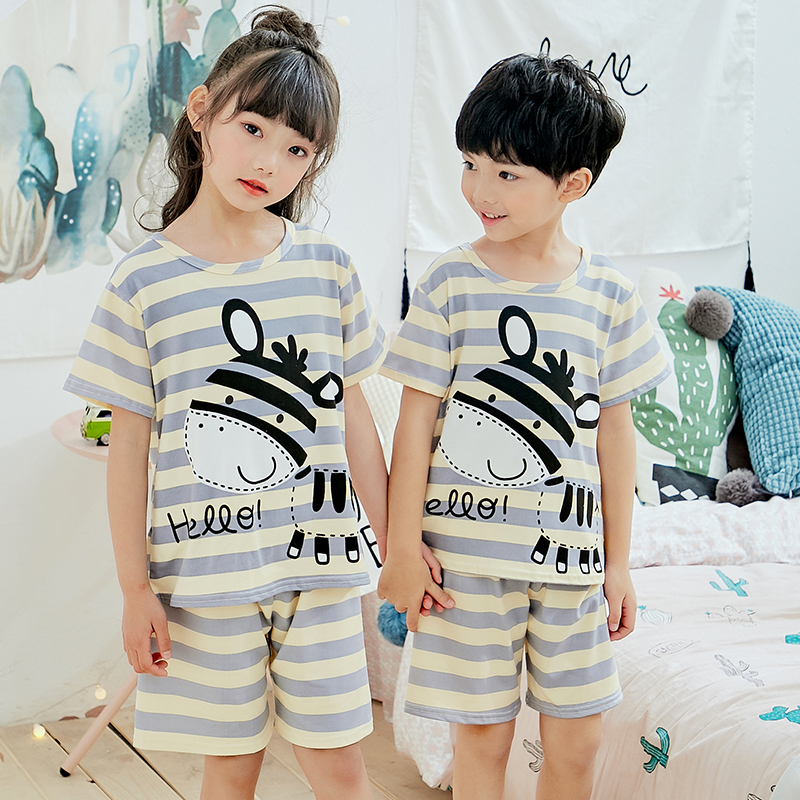 Kids pajamas set baby home clothes set boys all pijamas for children clothing girls short sleeved lively underwear sleepwear