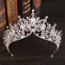 Vintage Silver Big Crown Luxury Baroque Crystal Crown Wedding Hair Ornaments Headbands Bride Tiaras And Crowns