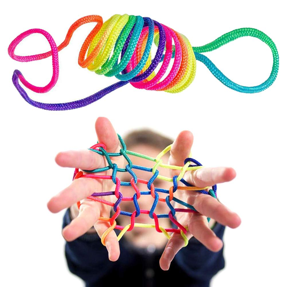 Rainbow Coloured Thread Toy Rope Finger Rope Puzzle Creates Various Figures 165cm