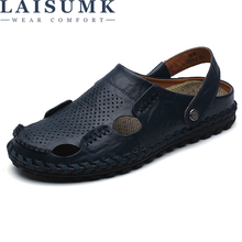 LAISUMK Fashion Design Breathable Walking Durable Beach Sandals Lace Up Men Flats Summer New Genuine Leather
