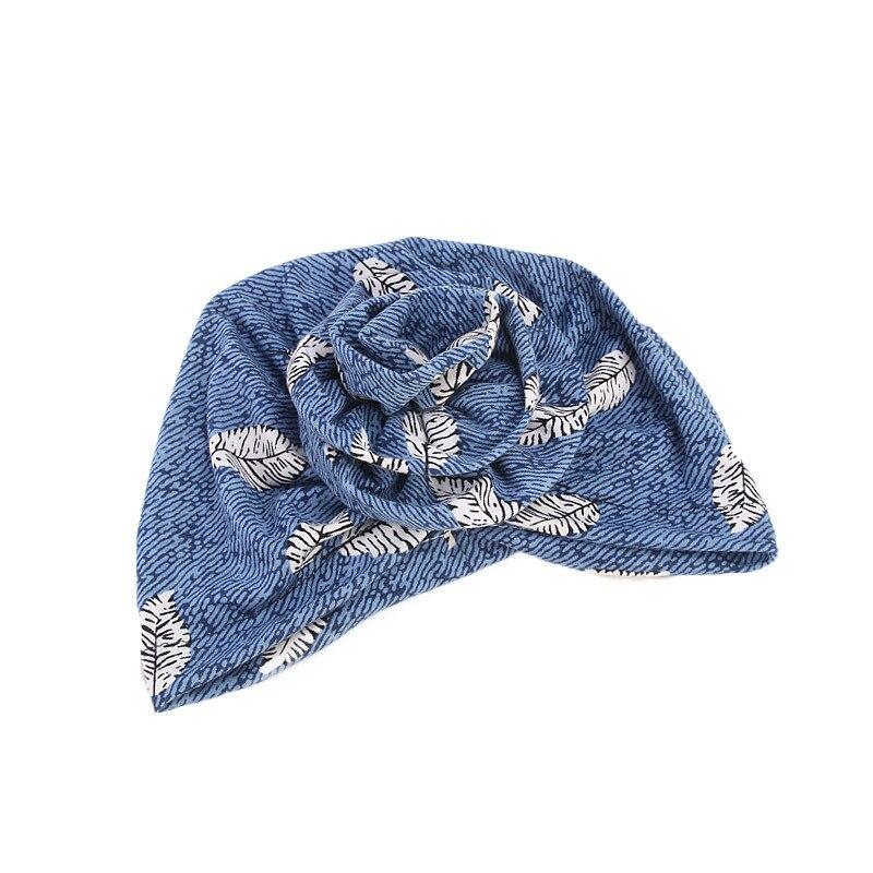 Купить новый элегантный хлопок 3d тюрбан с цветком женская шапочка