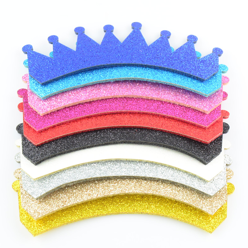 200pcs/lot 3.8x1.2 Inch Shiny Felt Crown Unfinished Supply Diy Girl 1st Birthday Hair Accessories 10 Color U Pick Gc01