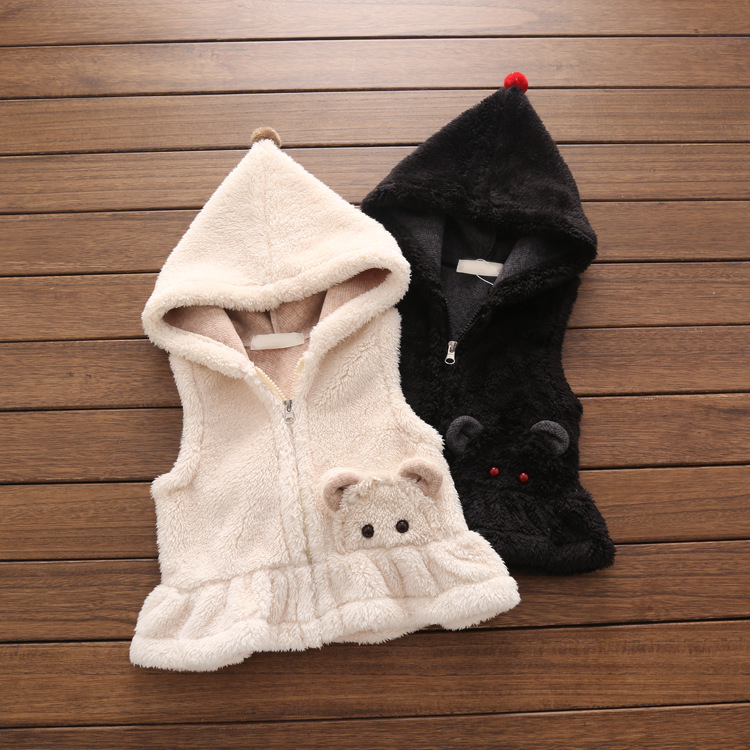 2017 Baby Vest Girls Spring Winter Outerwear Clearance Suit Autumn baby girl hooded waistcoats baby Black Warm Vest 2 3 4 5 7T