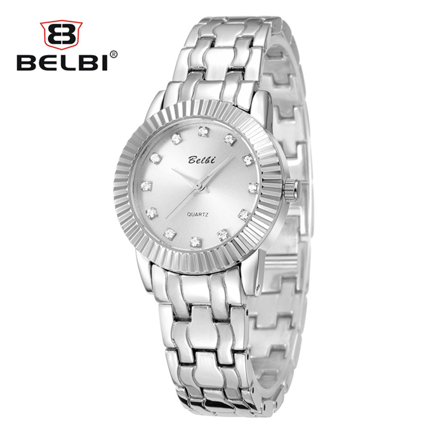 BELBI 2018 New Arrival Fashion Women Crystal Silver Stainless Steel Analog Quartz Wrist Watch Luxury Women's watches reloj mujer newest 8colors claudia special fashion women stainless steel leather band quartz analog wrist watches dropship reloj mujer