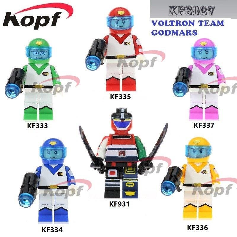 Super Heroes Voltron equipo Godmars película seis Dios combinación Robocop Space Wars ladrillos bloques de construcción juguetes para niños KF6027