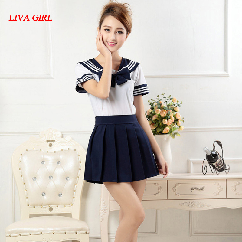 7 colors Japanese school uniforms sailor suit tops+tie+skirt JK Navy style Students clothes for Girl Lala Cheerleader clothing