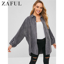 ZAFUL Pocket Oversized Corduroy Shirt Women Button Down Shirt Collar Long Sleeve Solid Color Shirts Blouses Casual Ladies Tops long sleeve corduroy button down shirt
