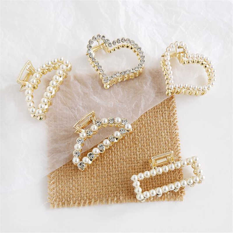 2019 Korean Pearls Rhinestone Geometric Alloy Shining Hair Claws Hair Making Tools  For Women Girls Banana Hair Accessories