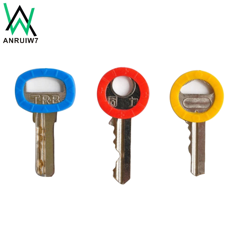 8pcs/16pcs Mixed Color Hollow Rubber Key Covers Multi Color Round Soft Silicone Keys Locks Cap Elastic Topper Keyring Case