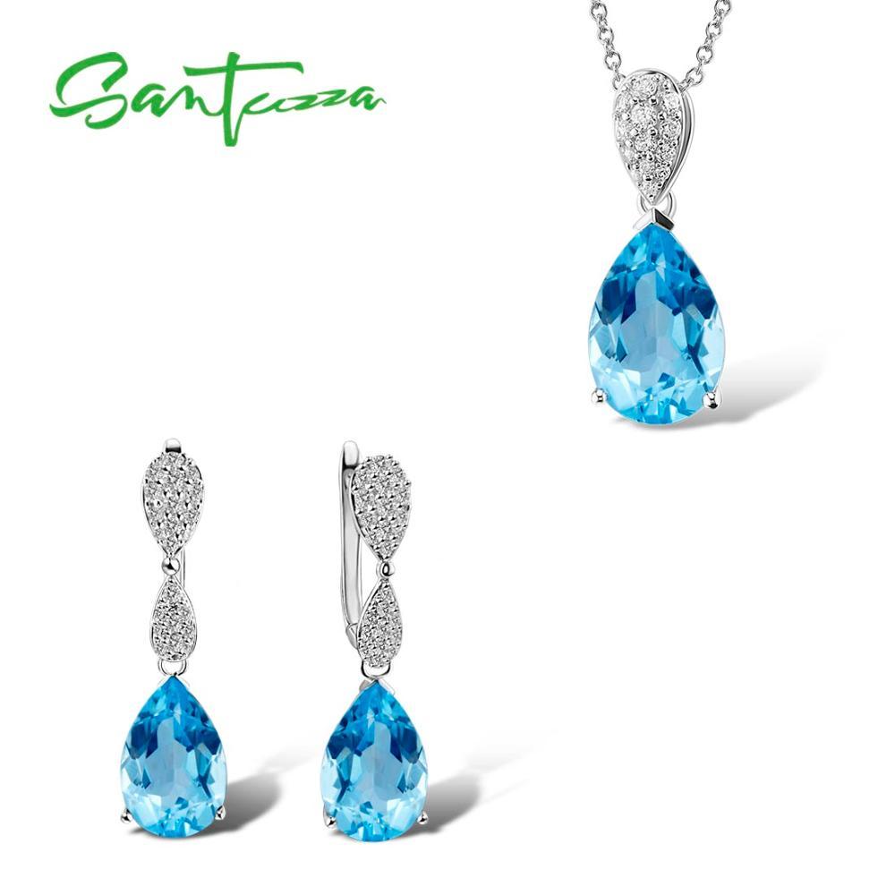 SANTUZZA Jewelry Set For Women Magic Sky Blue Crystal CZ Stones Drop Earring Pendant Set 925 Sterling Silver Fashion Jewelry