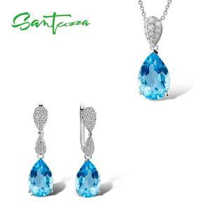 Image 1 - Santuzza Sieraden Set Voor Vrouwen Magic Sky Blue Crystal Cz Stenen Drop Earring Hanger Set 925 Sterling Zilveren Sieraden
