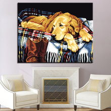 Sorrow Pet Golden Retriever Dog Picture By Numbers DIY Painting Kits Hand paited On Linen Canvas Modern Home Decor Wall Artwork