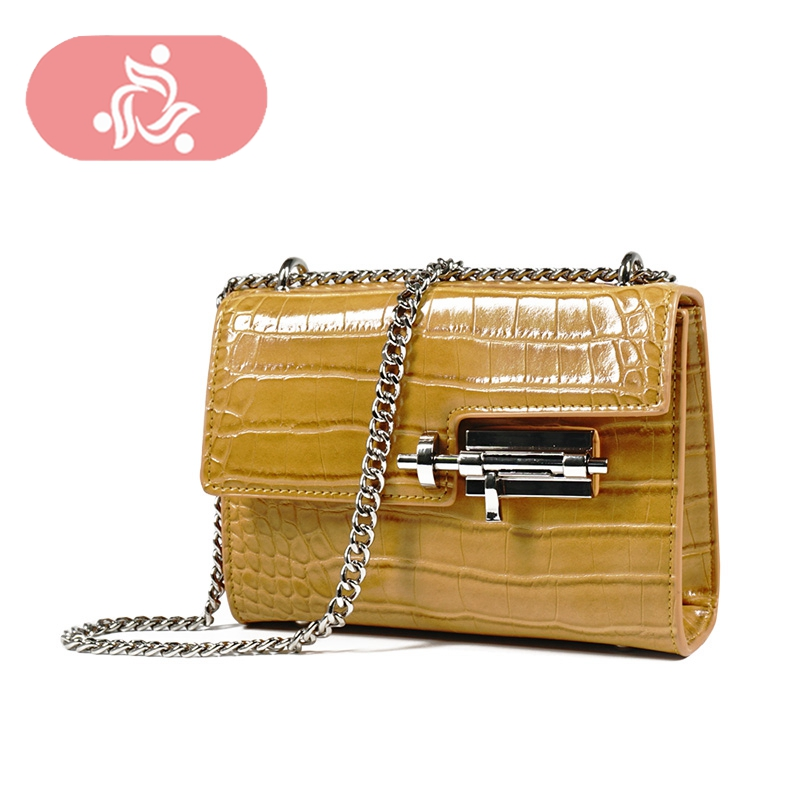 Nouveauté mode serrure Crocodile chaîne sac à bandoulière femme sac à main femmes sac jaune noir ceinture sac Cool pour les femmes