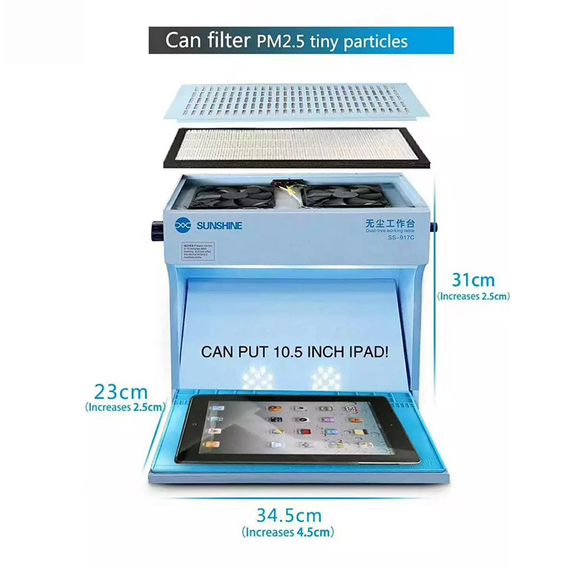 Image 2 - Sunshine SS 917C Dust Free Working Room Anti Dust Working Bench Adjustable Wind Cleaning Room for Phone iPad Refurbish Repair-in Power Tool Sets from Tools