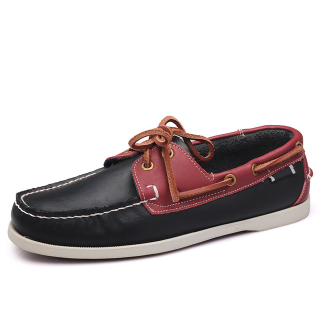 Mens Casual Genuine Leather Shoes Autumn Men Flat Walking Loafers 2018 Italy Man Luxury Slip on Boat Shoes Big Size 1