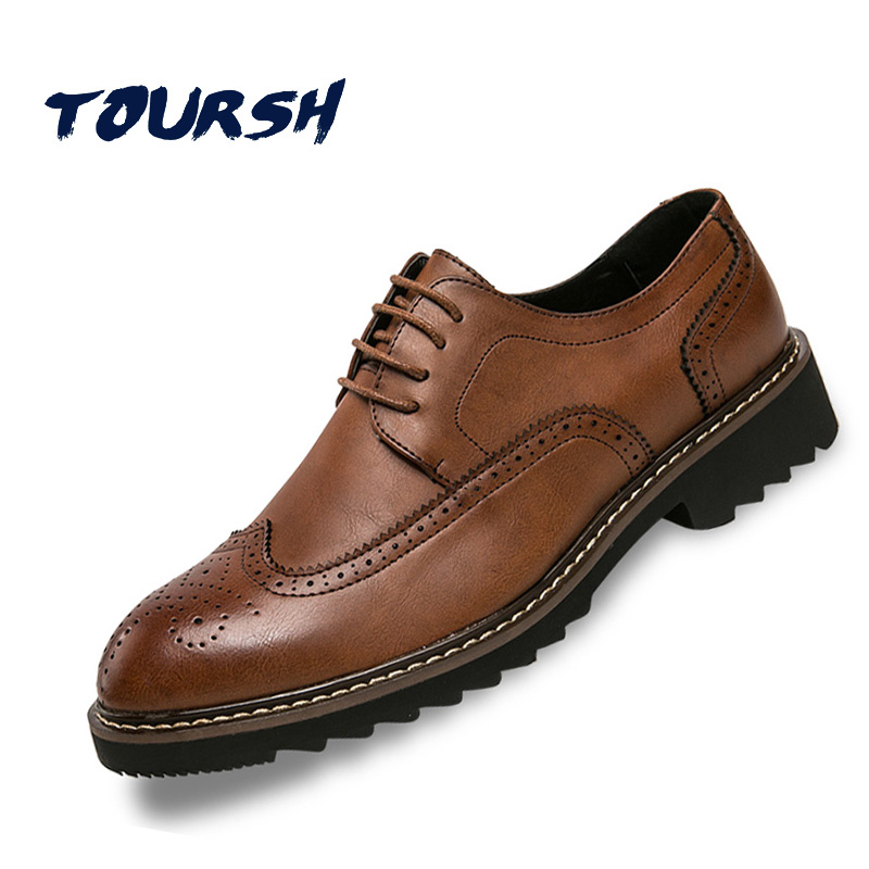 TOURSH 2018 Luxury Brand Brogue Shoes Men British Style Carved Genuine Leather Shoe Brown Oxford Shoes Lace-Up Zapatos Hombre men shoes wedding dress italian style men oxford genuine leather lace up black flats shoes luxury brand shoes sapatos homens