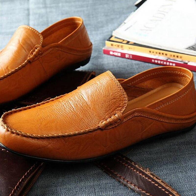 Qianruiti hommes chaussures de conduite pliables sans lacet mocassins souple Flexible chaussures de fumer antidérapant bas hommes chaussures décontractées noir blanc - 2