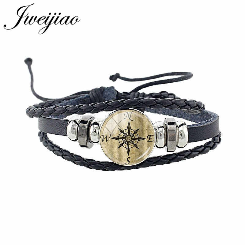 JWEIJIAO Trendy Steampunk Clock Pattern Black Leather Bangles Earth Map Flag Charm Bracelets For Men Woman Party Jewelry T112