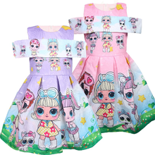 Children's printed big-eyed dolls Little children's princess dresses dolls children's jacquard one-shoulder girls dresses