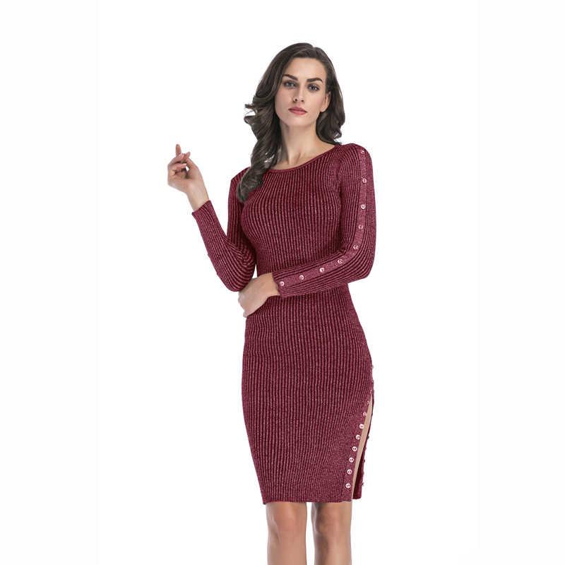 WHZHM сексуальные раздельные облегающие платья женские красные однотонные пуговицы длинные винтажные вечерние с круглым вырезом осенние вязаные Хлопковые женские Vadim