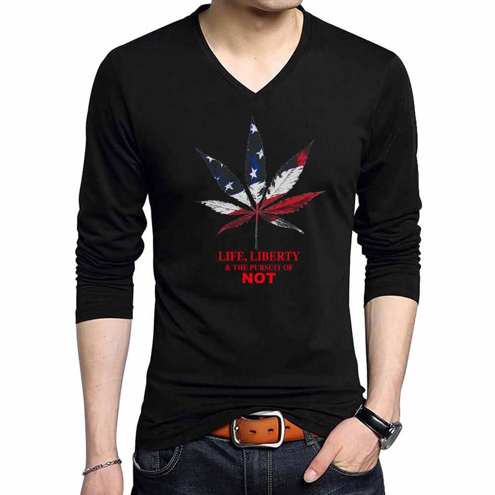 ليف شكل الأمريكية usa العلم طباعة القمصان بلون طويلة كم يتأهل تي شيرت الرجال البلوفرات القطن القميص عادية بلايز