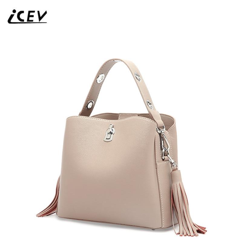 ICEV New European Fashion Genuine Leather Handbags Tassel Simple Bucket Tassel Top Handle Bags Handbags Women Famous Brands Sac недорго, оригинальная цена