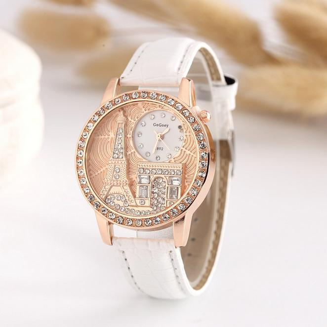 Hot Sales Gogoey Brand Paris Tower Leather Watches Women Ladies Crystal Dress Quartz Wristwatches Female Clock GO074