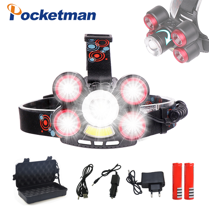 40000lm Headlamp T6+XPE+COB LED Headlight 5-Modes Zoom Head lamp Rechargeable Forehead Light for Fishing Use 2*18650 Battery