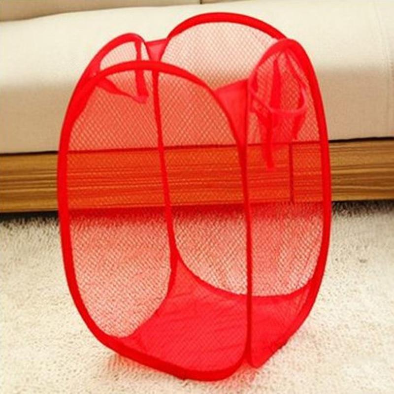 Foldable Portable Washing Clothes Laundry Basket Bin Hamper Mesh Storage Bag
