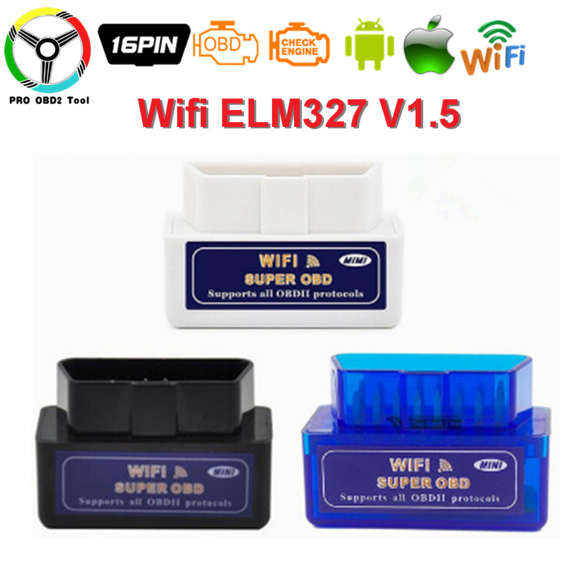 Super Mini ELM327 Wi-fi ELM 327 V1.5 Auto Scanner System ELM-327-1.5 Support OBD2 Protocols For Android And IOS Free shipping