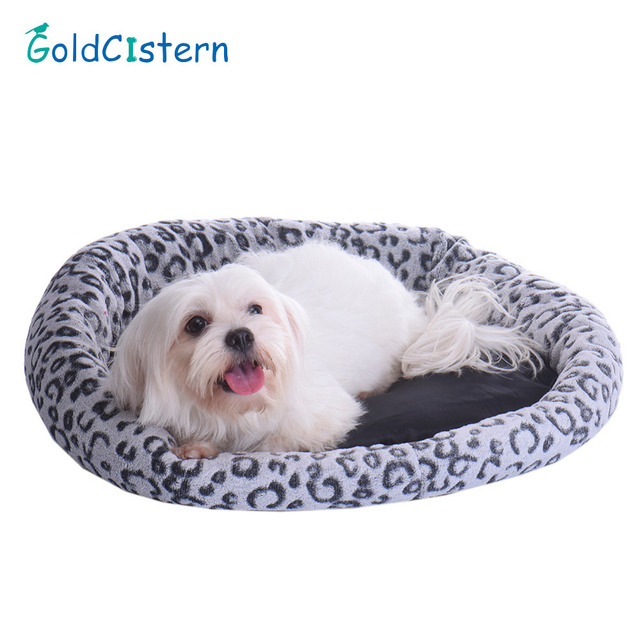 Soft Fleece Warm Leopard Round Pet Beds Plush Cozy Cat Dog House Nest Mat  Cute Pet
