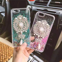 Diamond Brooch Pearl Pendant Liquid Glitter Sand Case Cover For iPhone X 8 7 6 6S Plus 5S Samsung Galaxy S8 S7 S6 Edge Note 5
