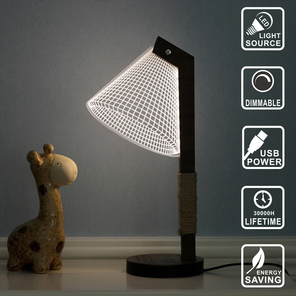 Wood 3D lamp dimmable lighting LED Lamp USB Night Light desk table lamp wood led bulb decoration light Acrylic Light IY804006