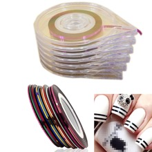 10Mixed Colors Nail Rolls Striping Tape Line DIY Nails Tips Decoration Sticker Nails Care+6 Layer Nail Art Case Tool Box Holder