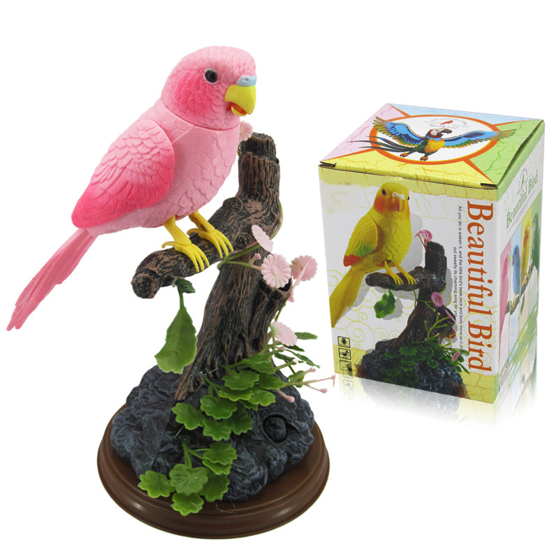 Musical parrot Magpie Electric artificia bird sounding bird Voice control bird Sing bird Electronic pets garden decorations go-kart