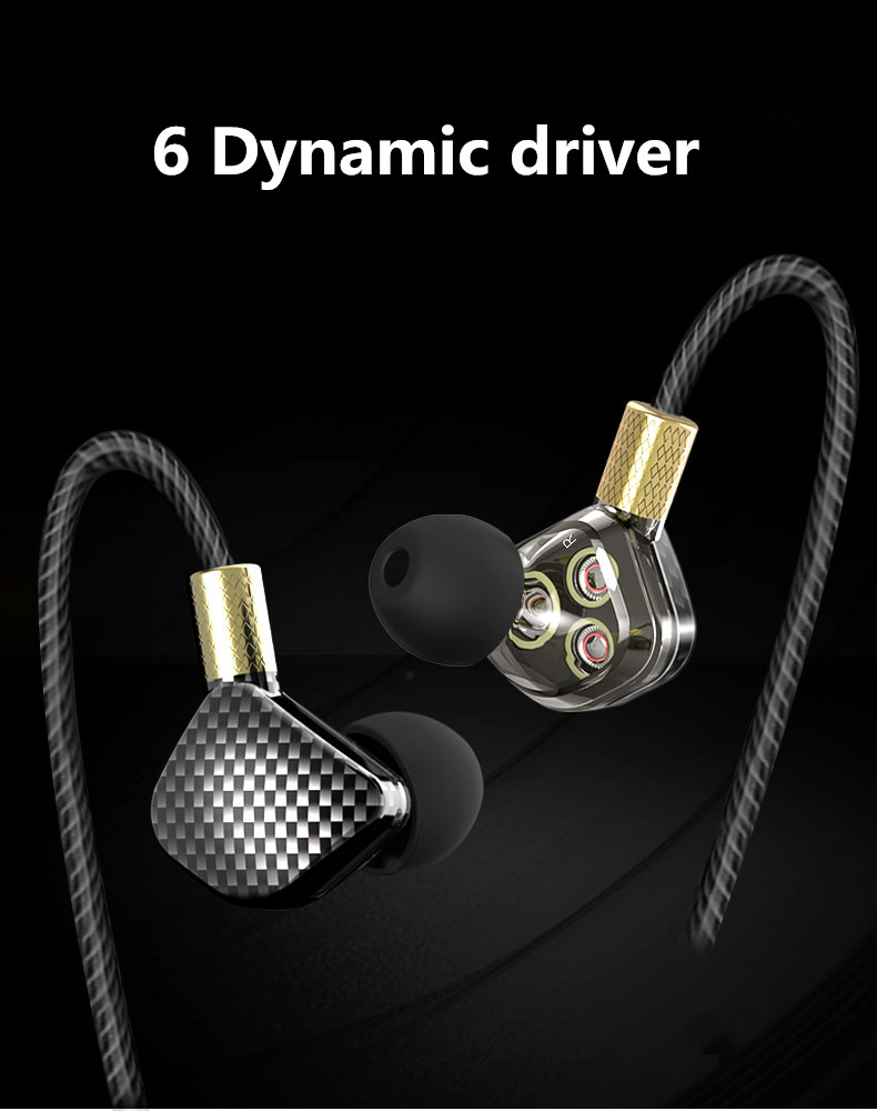 YINJW P8 Three Dynamic Driver System Speakers HIFI Bass Subwoofer In Ear Earphone Stereo Sports Earphone Monitor Earbud Headset