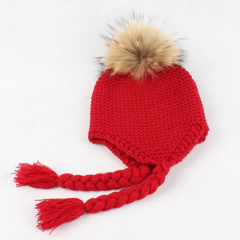 2018 Fashion Style New winter Children Braided Hair Cap Cute Baby Boy Knitted Warm Ear Protectors Toddler Infant Cap Beanie